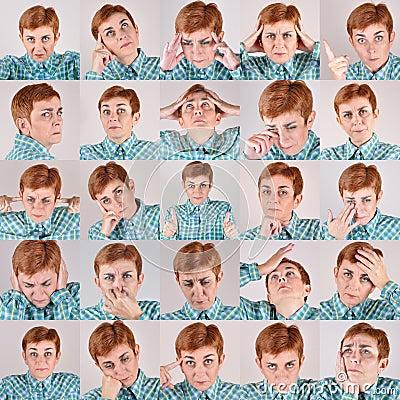 一套同一名妇女的二十五张画象用不同的表情的.图片