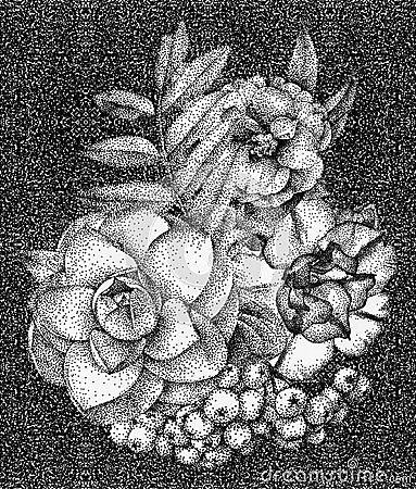 用手被画的不同的花和植物的构成图片