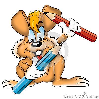 用蜡笔画橙色兔子