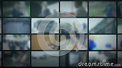 电视演播室 与移动的显示器的被弄脏的背景  新闻背景 影视素材