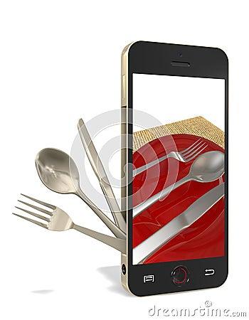 电话和刀叉餐具