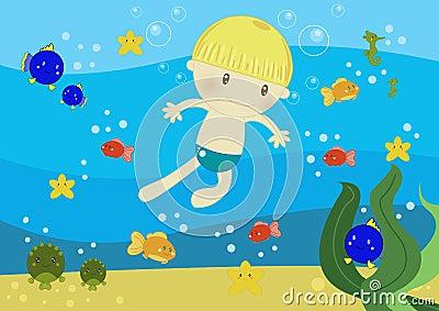 男孩海洋游泳