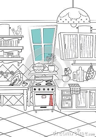 黑白厨房动画片样式背景-例证图片