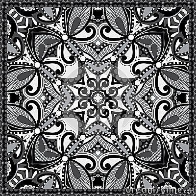 黑白地道丝绸围巾或方巾方形的轻拍. 毛巾, 花卉.图片