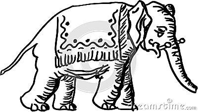 黑白大象例证.图片