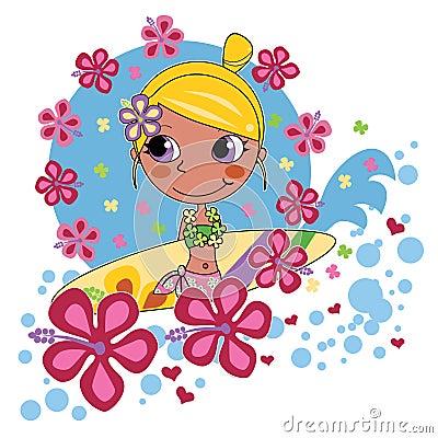 白肤金发的女孩冲浪者