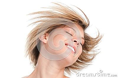 白肤金发的平直的发型