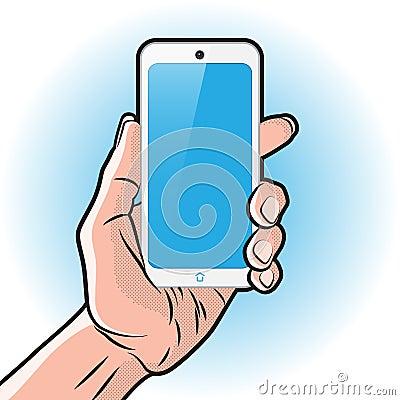 白色智能手机在手中图片
