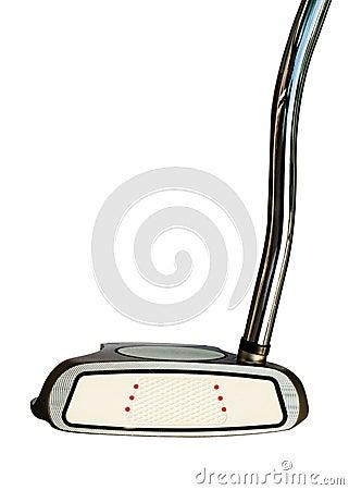 白色背景的高尔夫俱乐部轻击棒