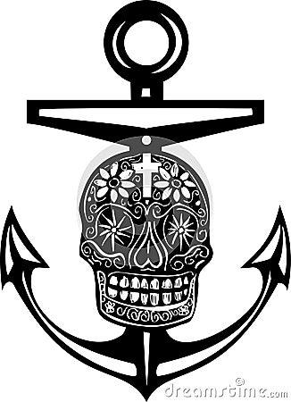 木刻样式海锚与死的头骨的一墨西哥天.