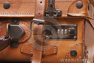 皮革老手提箱