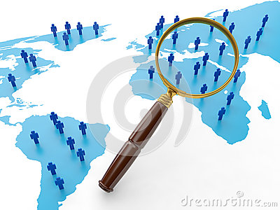 3d例证: 社会互联网. 社会网络的查找人环球.图片