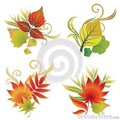 秋天五颜六色的叶子被设置的向量