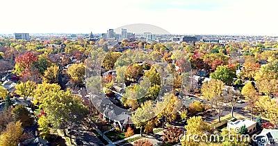移动朝博伊西爱达荷地平线有许多秋天树的 股票录像