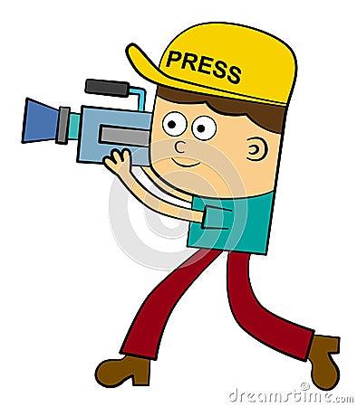 走一个动画片照相机的人,当运载和射击与他的照相机时.