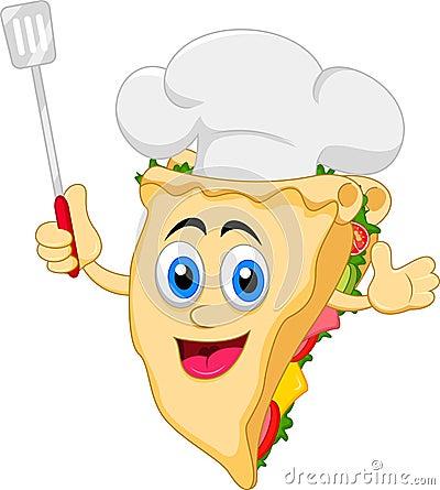 滑稽的动画片三明治厨师字符的例证.图片