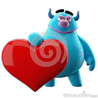 3d爱爱图_3d与大红色心脏的爱爱拥抱漫画人物.