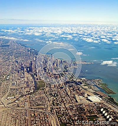 空中芝加哥伊利诺伊视图