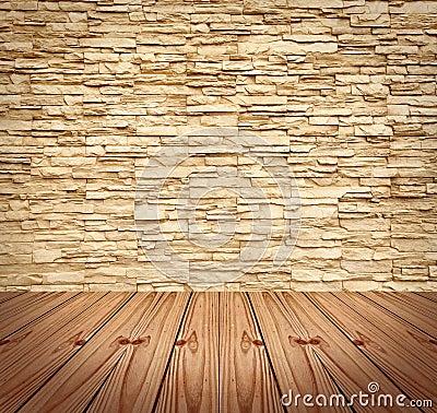 图库摄影: 空白木砖楼层现代的墙壁图片