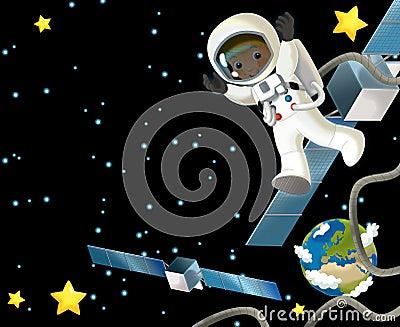空间旅途-愉快和滑稽的心情-孩子的例证