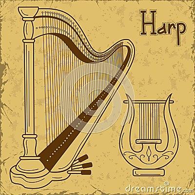 竖琴和里拉琴的例证图片