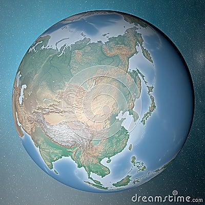 站立在干净的空间亚洲的地球