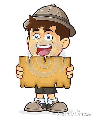 童子军或拿着一张空白的地图的探险家男孩图片