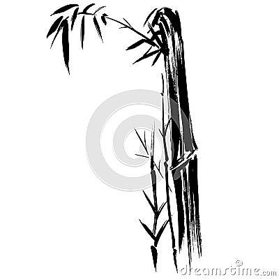 竹剪影图画EPS