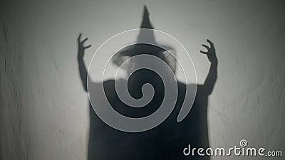 笑和投入一个邪恶的咒语的万圣夜有害巫婆在人在死者的万圣夜天- 股票视频