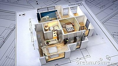 建筑图画被改变的3D房子内部
