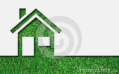 简单的绿色eco房子象图片
