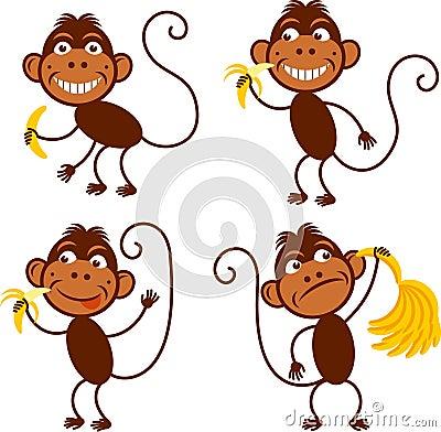 中国猴子种类_套逗人喜爱的滑稽的猴子用香蕉 年猴子 中国黄道带 新年标志2016年