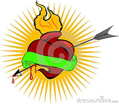 火焰灵性烧热爱生活看板卡神圣符号简单箭头红色纹身