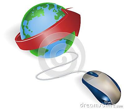 箭头地球鼠标图片