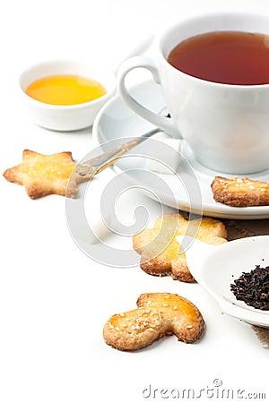 用_糖屑曲奇饼用红茶