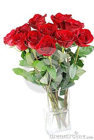 红色玫瑰花瓶