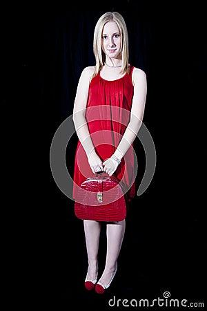 红色的美丽的妇女