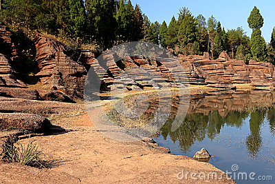湖南的红色石森林,中国 美好的自然风景,世界自然遗产 2014年12月拍图片