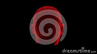红色Wireframe人顶头动画圈图表元素V2 向量例证