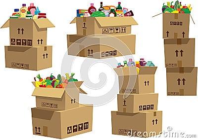 纸板箱堆积与物品图片