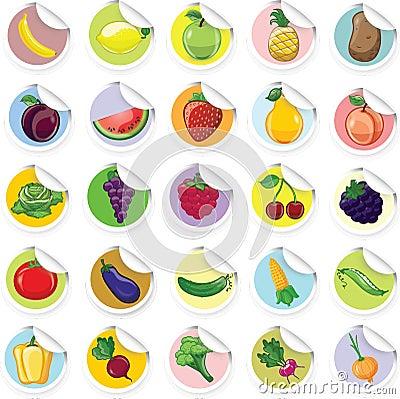 贴纸用动画片水果和蔬菜