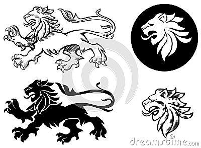 熊爪狮子空白纹章学纹身花刺绘画维多利亚女王时代老