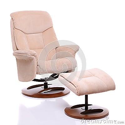 绒面革织品与脚凳的可躺式椅椅子