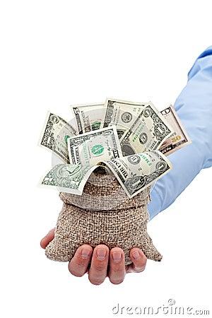 给您被捐的钱作为礼品或授予