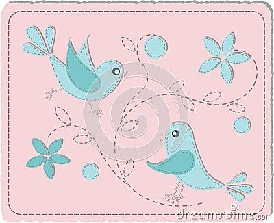 缝制的鸟蓝色