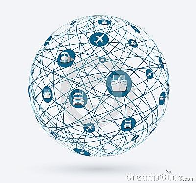 网络,服务的全球性连接在交付物品的 世界概念,网上购物,全世界运输.图片