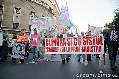 罗希亚蒙塔讷抗议在布加勒斯特,罗马尼亚- 9月07日 编辑类图片