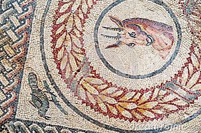 罗马villa del casale的马赛克在描述不同的动物和纹理的皮亚扎阿尔图片