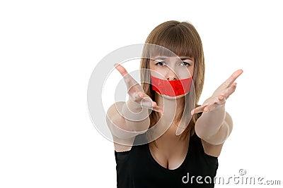 堵嘴女孩女性妇女室内密封少年工作室布料成人投反对