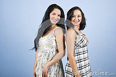 美丽的微笑的牙二妇女